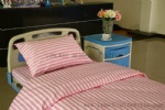 L-4 pink white stripe polyester cotton hospital bed sheet