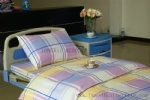 colorful checked hospital bed linen