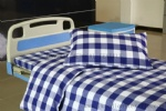 blue white check hospital bed sheet set