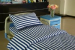 blue white stripe hospital cotton bed sheet